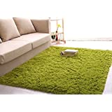 Ultra Soft 4.5 Cm Thick Indoor Morden Area Rugs Pads, New Arrival Fashion Color [Bedroom] [Livingroom] [Sitting-room] [Rugs] [Blanket] [Footcloth] for Home Decorate. Size: 4 Feet X 5 Feet (Grass green)