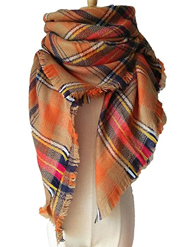 JALIYO Women's Plaid Scarf Plus Size Multi Colored Warm Blanket Scarf Wrap Shawl (H) (Chenille Scarf White)