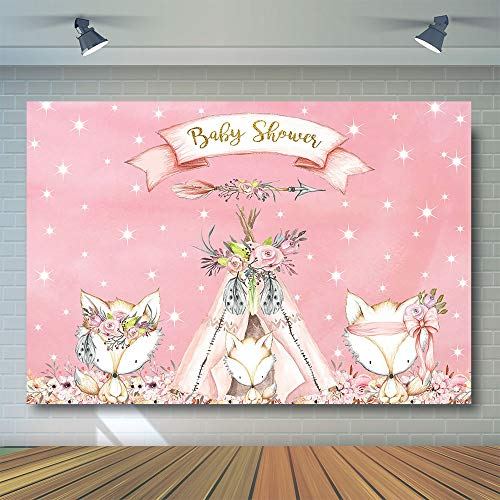 COMOPHOTO Woodland Baby Shower Backdrop 7x5ft Vinyl Boho Teepee Tribal Fox Pink Flower Watercolor Photography Backdrops Girl Baby Shower Party Banner -