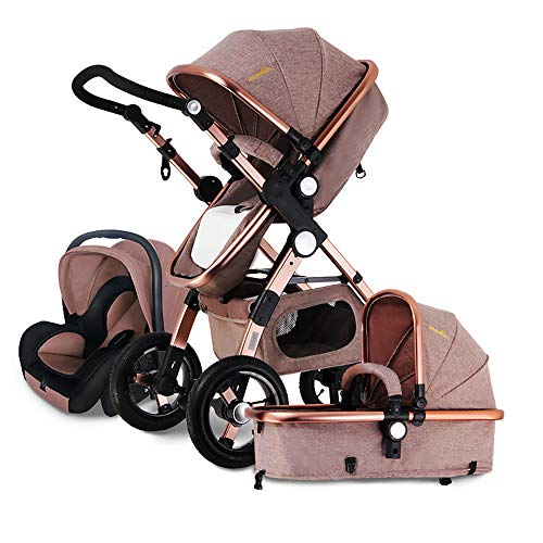 Luxury Baby Stroller and car seat Combo, Baby bassinets Folding pram 2-1 3 in 1 Strollers Reversible Baby Carriage (Khaki 3-1)