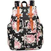 BLUBOON Women Backpack Girls Lady Casual College Bookbag Canvas Laptop Travel Rucksack Floral School Bag