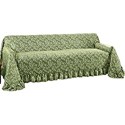 Leaf Design Furniture Protector Throw Cover With Ruffled Border, Sage Green, Sofa