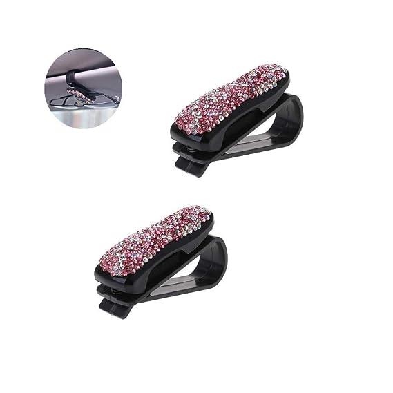 Rhinestone Diamonds Clip Glasses Holders Women Sun Visor Fastener Clip for Tickets and Cards 2PCS Car Mount Glasses Clip Purple