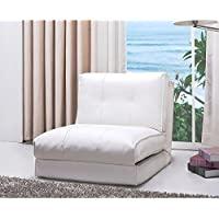 Darlington White Leather Single Sleeper Chair
