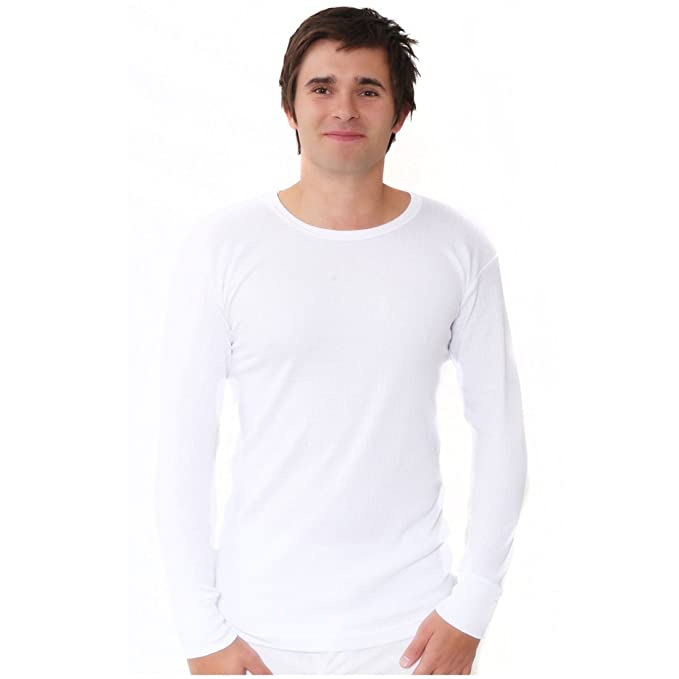 Soft Long Sleeve Fitted T-Shirt Men/'s 100/% Pure Cotton Heavy Weight 240 gsm