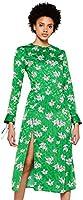 FIND Vestido de Flores por Media Pierna Mujer, Verde (Green), 38 (Talla del Fabricante: Small)