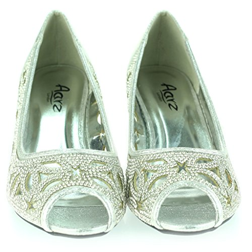 Frau Damen Diamant Peeptoe Abend Hochzeit Party Braut Abschlussball Niedrige Kätzchen Ferse Sandalen Schuhe Größe Silber