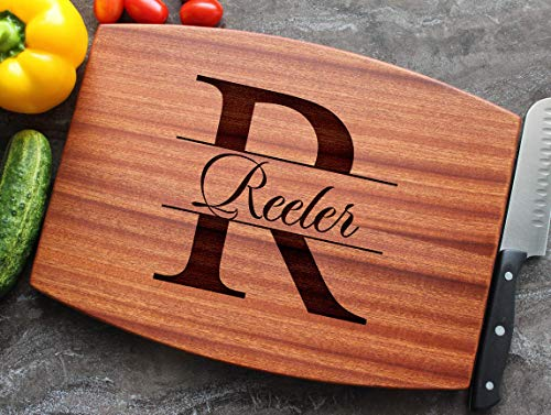 Personalized Engraved Custom Cutting Board - Walnut, Sapele or Maple - Elegant Bold Name Monogram Letter For Wedding Holidays Celebration Gift - Handle + Stainless Steel Display Stand Available #87