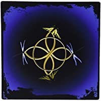 3dRose LLC 8 x 8 x 0.25 Inches Mouse Pad, Gold Celtic Knot with Butterflies and Dragonflies (mp_63363_1)