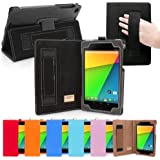 Snugg® Nexus 7 2 Case - Smart Cover with Flip Stand & Lifetime Guarantee (Black Leather) for Nexus 7 2