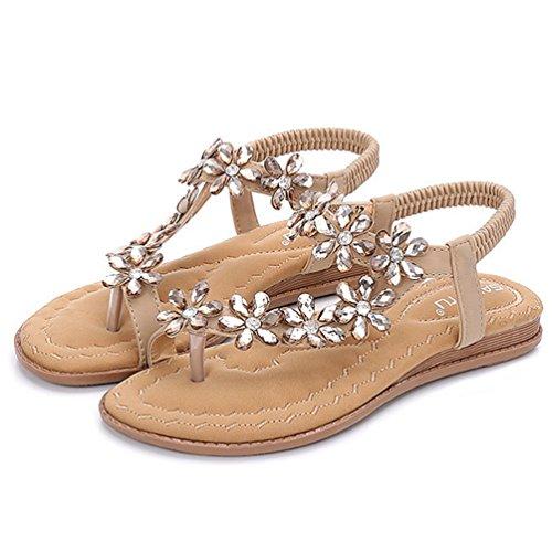 Sangle Plat Cheville Flower Summer Flip élastique Beige Femmes Sparkle Sandales Chaussures Beach JRenok String Sandales Flop Robe v74Pwx8q