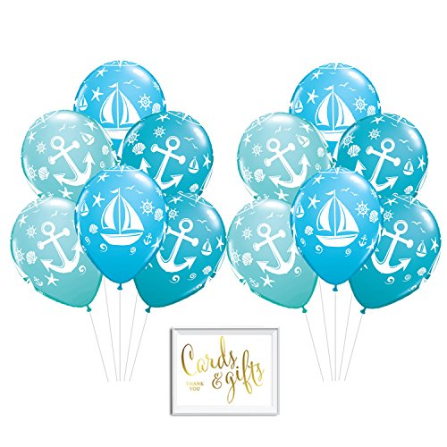 Andaz Press Bulk High Quality Latex Balloon Party Kit with Gold Cards & Gifts Sign, Nautical Sailboat Anchor Aqua Blue 3 Color Printed 11-inch Balloons, Wholesale 50-Pack