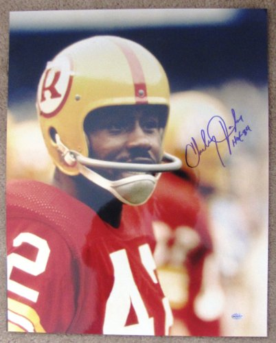 (Charley Taylor Autographed 16x20 Head Shot Photograph - Washington Redskins Hall of Fame Inscription)