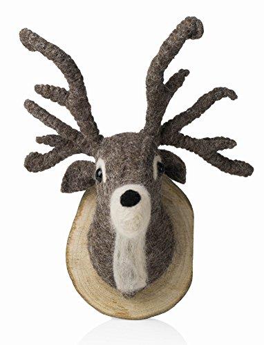 Karma Living Stuffed Animal Felted Wool Reindeer Stag Deer Head Trophy Mount Wall Art Wood Plaque - (Reindeer Wall)