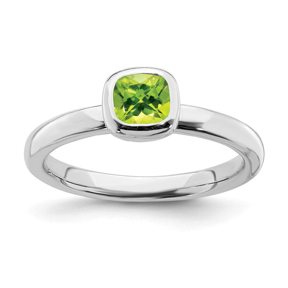 925 Sterling Silver Cushion Cut Green Peridot Band Ring Size 7.00 Stone Stackable Gemstone Birthstone August Fine Jewelry Gifts For Women For Her