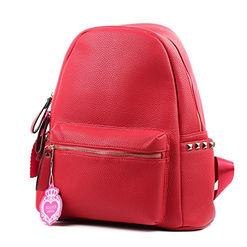 Unisex Faux Leather Unisex Rucksack/Backpack School College Bag Red