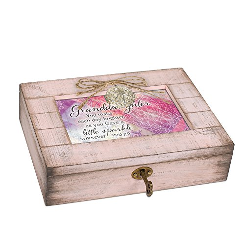 Cottage Garden Granddaughter Sparkle Blush Pink Distressed Locket Music Box Plays You are My ()