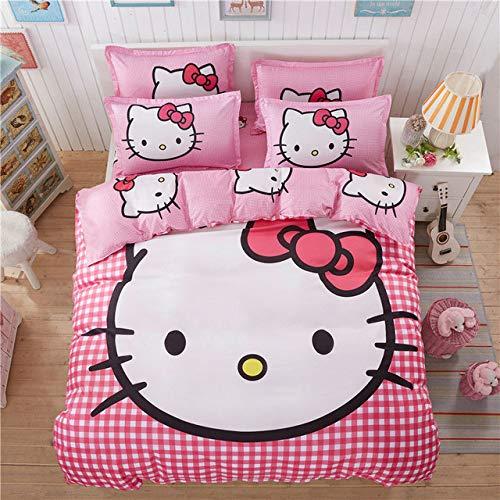 Olwen Shop - Juego de ropa de cama de 4 piezas con diseño de Hello Kitty para niños con funda de edredón, juego de...