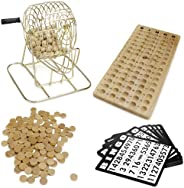 Royal Bingo Supplies Vintage Wooden Bingo Game | 6 Inch Brass Cage with Calling Board, 75 Balls, 150 Bingo Chi