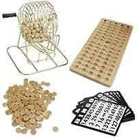 Royal Bingo Supplies - Juego de Bingo de Madera clásico, Jaula de latón de 15.24 cm con Tabla de Llamadas, 75 Bolas, 150 fichas de Bingo y 18 Tarjetas de Bingo para Grandes Grupos de Juego