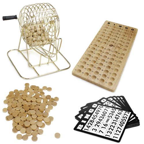 Royal Bingo Supplies Vintage Wooden Bingo Game - 6-Inch Brass Cage with Calling Board, 75 Balls, 150 Bingo Chips, & 18 Bingo Cards for Large Group Games