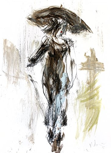 - Woman with Umbrella Drawing Print, Charcoal Sketch Poster, Female Wall Art, Figural Artwork