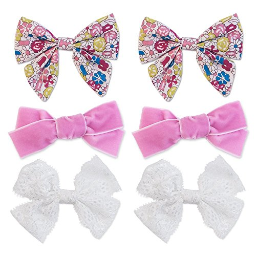 Price comparison product image Boutique hair bows on alligator clip – 6 pack pigtail set | Handmade Fabric bows for Baby and Toddlers | White Lace, Pink Velvet and Multi-Floral Hair Accessory