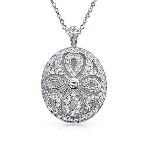 Bling Jewelry Vintage Style Filigree Cubic Zirconia CZ Oval Infinity Cross Locket Pendant Necklace for Women Silver Plated Brass