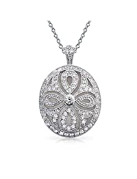 Vintage Style Filigree Cubic Zirconia CZ Oval Infinity Cross Locket Pendant Necklace for Women Silver Plated Brass