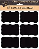 Custom Homestead 36 Large Fancy Rectangle Chalkboard Labels - Reusable Blackboard Stickers for the Kitchen, Pantry, Mason Jars, Wine Glasses and more