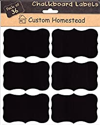 36 Large Fancy Rectangle Chalkboard Labels - Reuasable Blackboard Stickers for the Kitchen, Pantry, Mason Jars, Wine Glasses and more