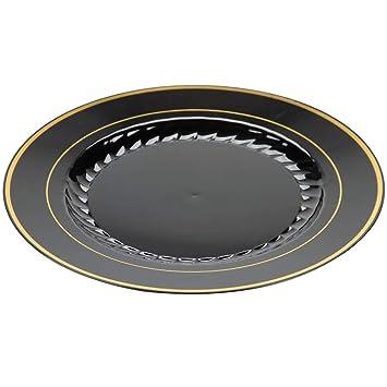 Pack de 12 elegantes platos de plástico duro, platos de vajilla de plástico – negro