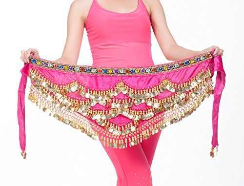 DQdq Women's Beaded Gold Coin Belly Dance Hip Wrap Scarf Rose Pink (Pink Indian Sari Adult Costume)