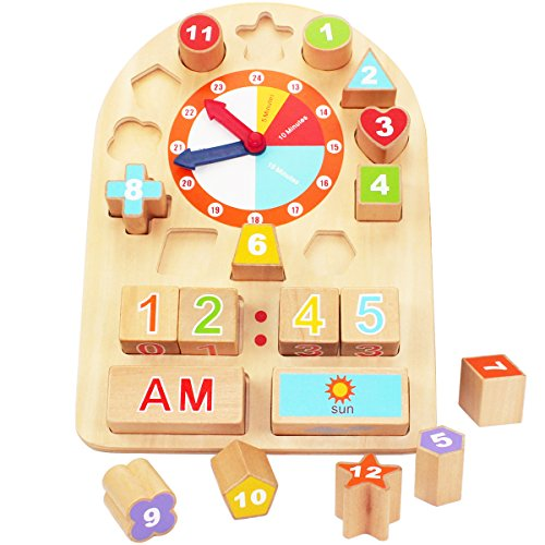 iPlay, iLearn Wooden Shape Sorting, Counting and Teaching Time Clock Educational Learning Toy for 2, 3, 4, 5 Year Old and Up, Children and Toddlers(Both for Boys and Girls)