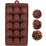 Sunflower and Rose Flower Ice Cube Chocolate Soap Tray Mold Silicone Party maker (Ships From USA)