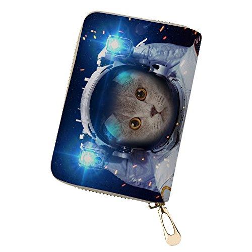 Blue 3 Cat Credit Card Leather Men Travel for cat Wallet Card Holder Wallet qABwqZU