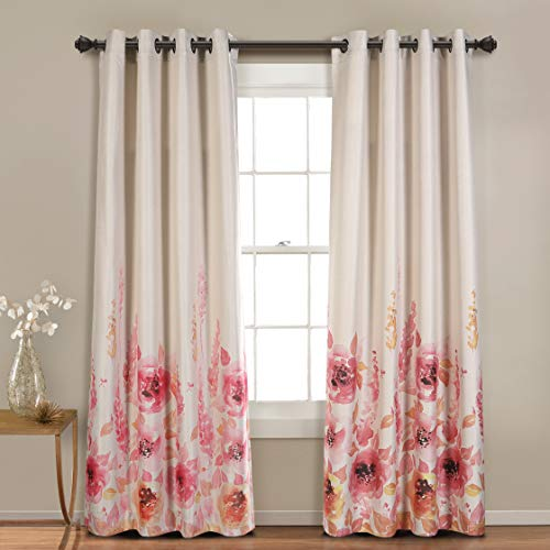 MYSKY HOME Floral Design Print Grommet top Thermal Insulated Faux Linen Room Darkening Curtains, 52 x 95 Inch, Red, 1 Panel