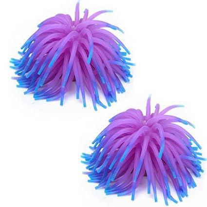 2 pcs Coral De Silione Para decorar El Acuario Tanque De Pescados - Púrpura