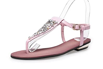 ae3dbb741e96 AdeeSu Womens Flip-Flop-Sandals Flatform Buckle Ankle-Strap Studded Cold  Lining Smooth
