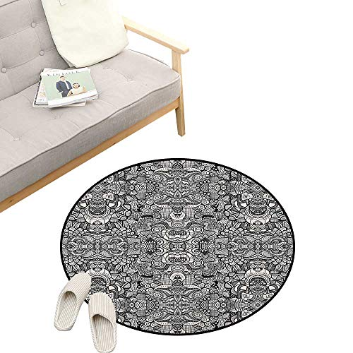 Symmetrical Tattoo - Abstract Round Area Rug Non-Slip ,Abstract Composition Floral and Geometric Elements Symmetrical Tattoo Design, Living Room Bedroom Coffee Table 31