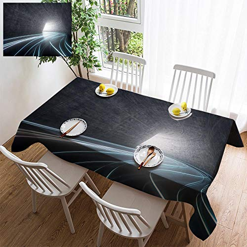 Light Sturbridge 6 (HOOMORE Simple Color Cotton Linen Tablecloth,Washable, 3D Illustration Light Trail on Road Decorating Restaurant - Kitchen School Coffee Shop Rectangular 54×54in)