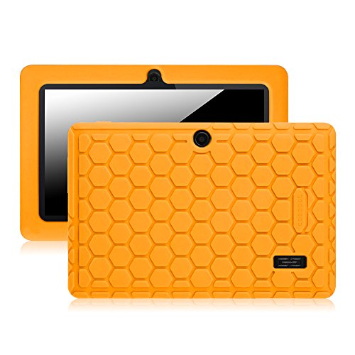 Fintie [Kids Friendly] Shock Proof Silicone Case Cover for TOPELOTEK 7, NeuTab N7 Pro, Alldaymall 7 (Third Generation), Dragon Touch Y88X Plus 7 and More 7 Inch Tablet with Same Design, Orange (Zeepad 7 Cases Tablet Inch)