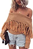 Angashion Women's Sexy Off Shoulder Long Sleeve Slim Fit Fringe Knit Crop Top Sweater Camel M