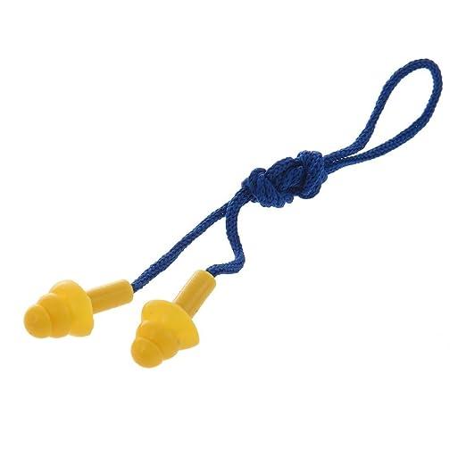 TOOGOO(R) Tapones de oidos de silicona amarillo cuerda de nylon azul  reutilizable silencioso: Amazon.es: Deportes y aire libre