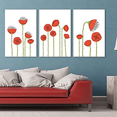 3 Panel Canvas Wall Art - Hand Drawing Style Red Poppy Flowers - Giclee Print Gallery Wrap Modern Home Art Ready to Hang - 16
