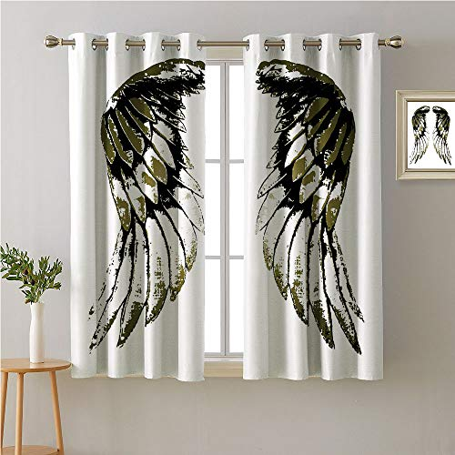Jinguizi Wings Grommets Curtain for Kitchen Window,Tribal Bird Wing Illustration Wildlife Inspired Animal Feathers,Blackout/Room Darkening Curtains,96W x 72L