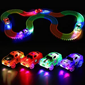 ROYI Track Car 4 Packs Light-Up Fast Speed Magic Fast Tracks Cars Replacement Track Race Car Toy 5 LED Lights Racing Cars Track Accessories Compatible with Most Tracks Endless Fun for Boys & Girls