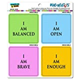 Graphics and More Yoga Affirmations I Am Open Enough Brave Balanced Mag-Neato's Automotive Car Refrigerator Locker Vinyl Magnet Set