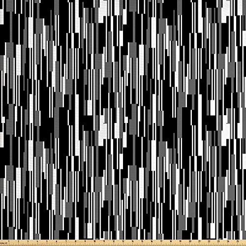 Ambesonne Black and White Fabric by The Yard, Barcode Pattern Abstraction Vertical Stripes in Grayscale Colors, Decorative Fabric for Upholstery and Home Accents, 1 Yard, Black Grey - Stripe Fabric White Upholstery