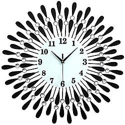 zhENfu Large Diamond Luxury Living Room Wall Clock Iron European Modern Fashion Creative Personality Mute Watches Black Wall Clock